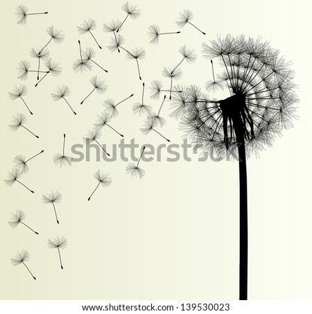 Blow dandelion vector vintage background concept - stock vector