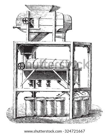 Blower Screener coffee divider, vintage engraved illustration. Industrial encyclopedia E.-O. Lami - 1875. - stock vector
