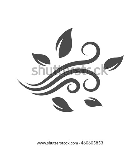 Blowing leaves icon in single grey color. Autumn fall falling windy weather forecast - stock vector