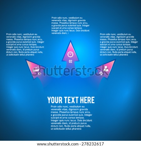 Blue abstract arrows background corporate concepts with icons infographics. Vector illustration EPS 10 for business workflow layout, web banner template, page magazine, brochure design elements - stock vector