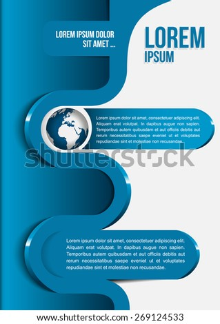 Blue abstract background of a brochure with globe and 3d wave - stock vector