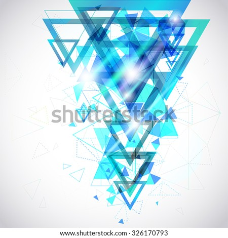 Blue Abstract background of hexagon and triangle geometric geometry polygon and element shape for poster and website decoration design, create by vector - stock vector