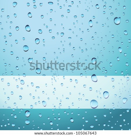 Blue abstract background with drops and copy space - no transparency applied - stock vector