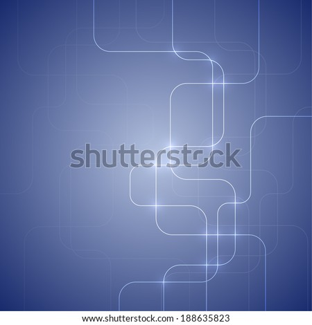 Blue abstract  background with glowing light interwoven fibers. Techno. vector.  Template for web, brochures, presentations, explanations, flyers,  mobile phones, internet,  magazine, padded, blank - stock vector
