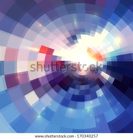 Blue abstract concentric mosaic tiles vector background  - stock vector