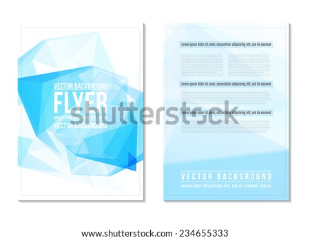 Blue abstract digital triangle geometric backgrounds. Cover design template layout for corporate business book, booklet, brochure, flyer, poster. Vector - stock vector