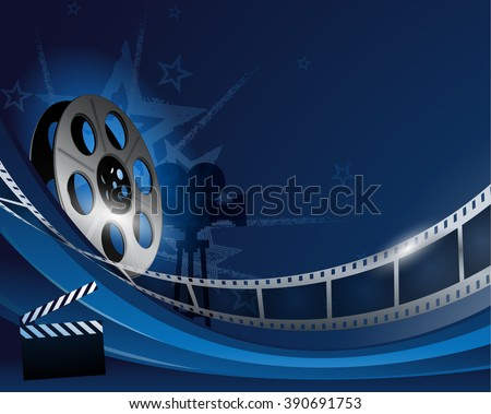 Blue abstract film reel movie background - stock vector