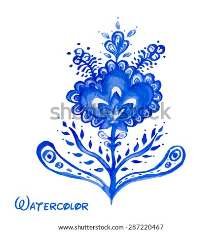 Blue abstract flower hand painted watercolor. Russian style Gzhel vector element for design. - stock vector