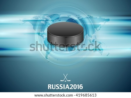 Blue abstract hockey background with black puck. Vector graphic winter sport design - stock vector