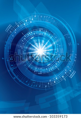blue abstract music background - vector flyer - stock vector