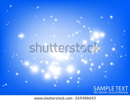 Blue abstract space sparkles vector background illustration - Shiny glitters in blue space vector background illustration - stock vector