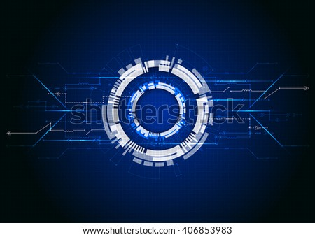 Blue abstract technological background with various technological elements - stock vector