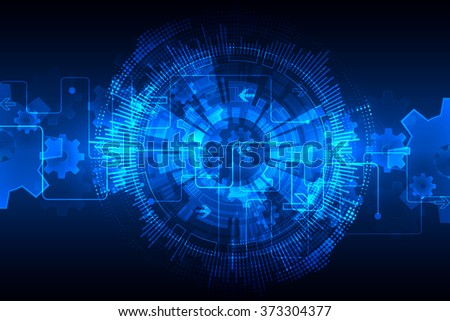 Blue abstract technological background with various technological elements. Vector - stock vector