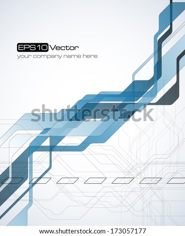 Blue abstract technology background - Vector illustration - stock vector