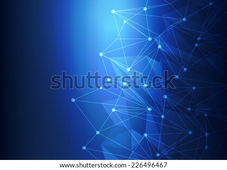 Blue Abstract Technology Mesh Background with Circles, vector illustration - stock vector