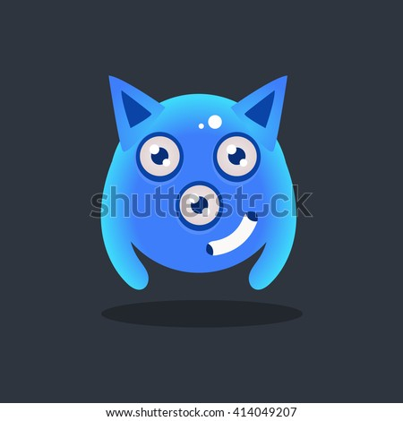 Blue Alien With Pointy Ears Cute Childish Flat Vector Bright Color Drawing Isolated On Dark Background - stock vector