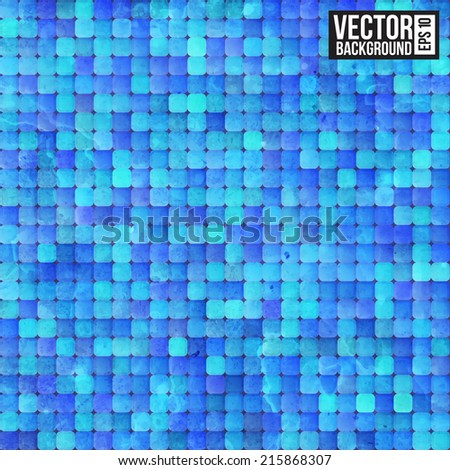 Blue ancient luxury mosaic. Vector illustration - stock vector
