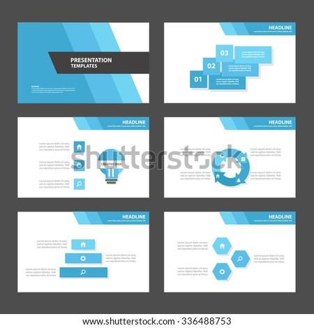Blue and Black presentation template Infographic elements flat design set for brochure flyer leaflet marketing advertising - stock vector