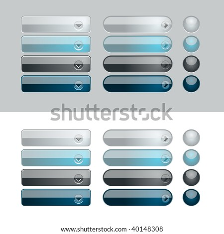 Blue and Black web button set. Easy to change colors. - stock vector