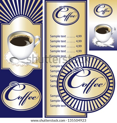 Blue and gold set for the cafe menu, business card and coasters for drinks. All elements are grouped. Vector images for easy editing. - stock vector