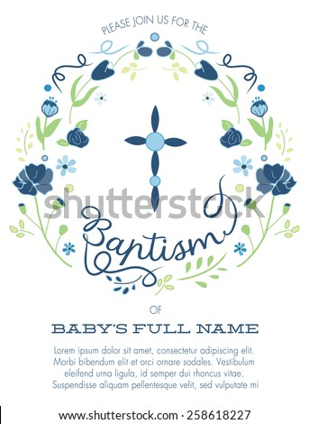 Blue and Green Boy's Baptism/Christening Invitation with Cross Design and Flowers - Vector  - stock vector