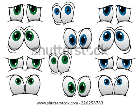 Blue and green cartoon eyes expressing a variety of different emotions isolated on white for comics design - stock vector