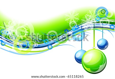 blue and green christmas background - stock vector