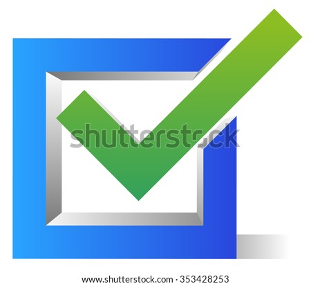 Blue and green, 3d check box, check mark, tick icon. - stock vector