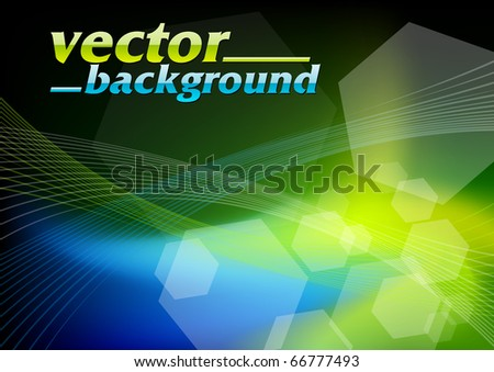 blue and green dark background - stock vector