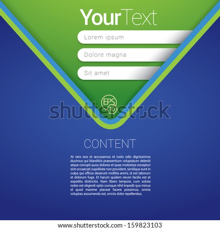 Blue and green V or arrow shape edition of a scalable futuristic minimal  vector software 3d layout design with navigation menu for printing, for web, or for mobile application for universal use - stock vector