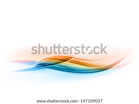 blue and orange abstract wave - stock vector