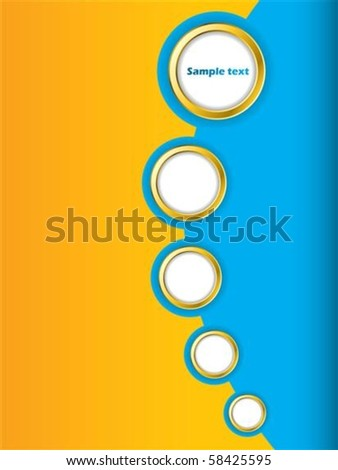 Blue and orange brochure design with golden rings - stock vector