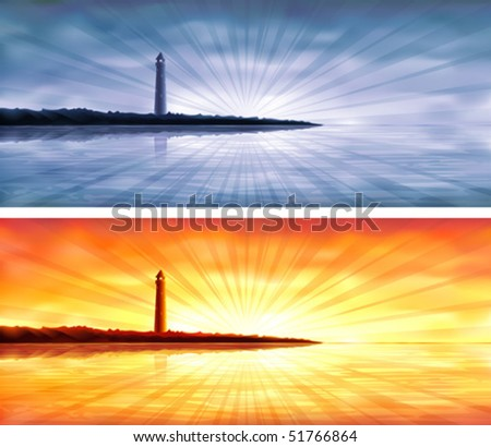 Blue and orange lighthouse banners (AI-optimized EPS 8 file, other landscapes are in my gallery) - stock vector
