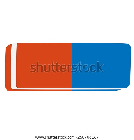 Blue and orange rubber pencil eraser vector icon isolated - stock vector