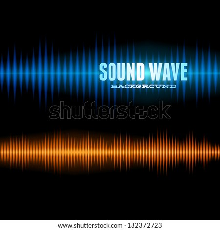 Blue and orange shiny sound waveform background with sharp peaks - stock vector