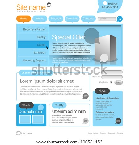 Blue and orange Website Template 960 Grid. - stock vector