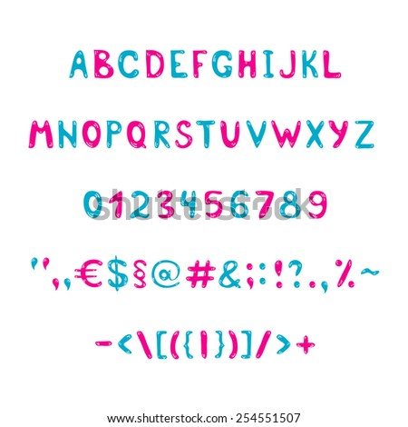 Blue and pink alphabet and figures - stock vector
