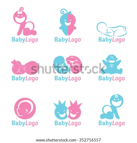 Blue and Pink Baby logo vector design - stock vector