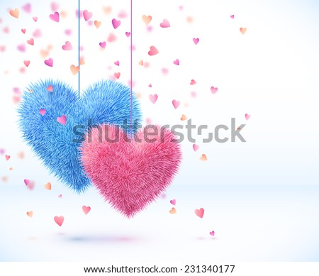 Blue and pink pair of hearts Valentines day vector background - stock vector