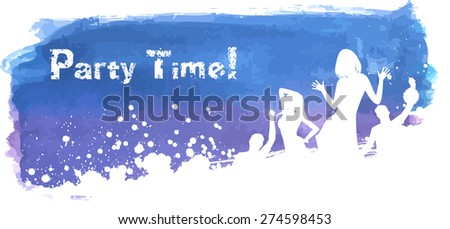 Blue and purple grunge watercolored background with dancing people  - stock vector