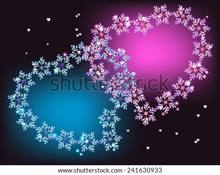 Blue and purple hearts with stars. EPS10 vector illustration. - stock vector