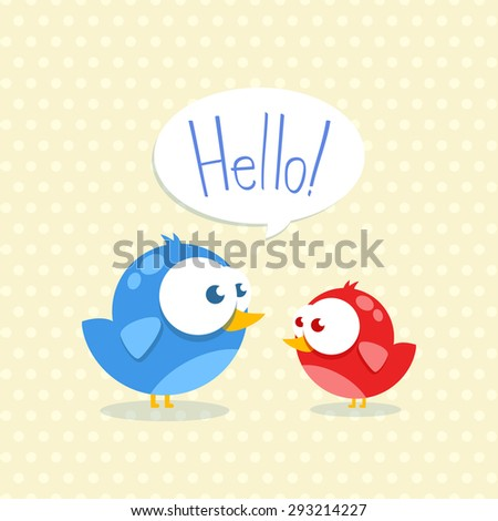 Blue and red bird with big eyes say Hello - stock vector