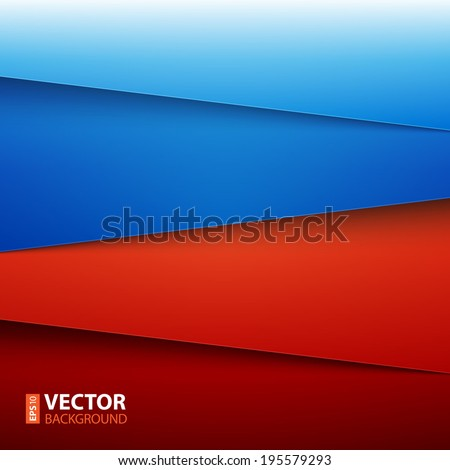 Blue and red paper layers abstract vector background. RGB EPS 10 vector illustration - stock vector