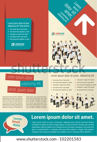Blue and red template for advertising brochure with business people - stock vector
