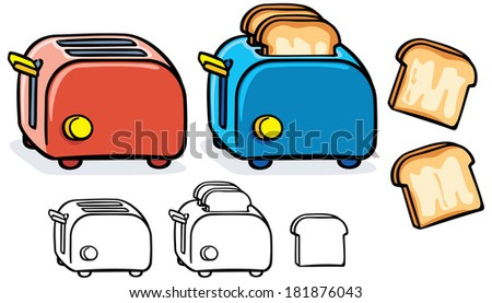blue and red toasters with black and white variant  - stock vector