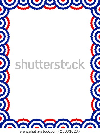 Blue and red USA patriotic buntings page border / frame design collection - stock vector