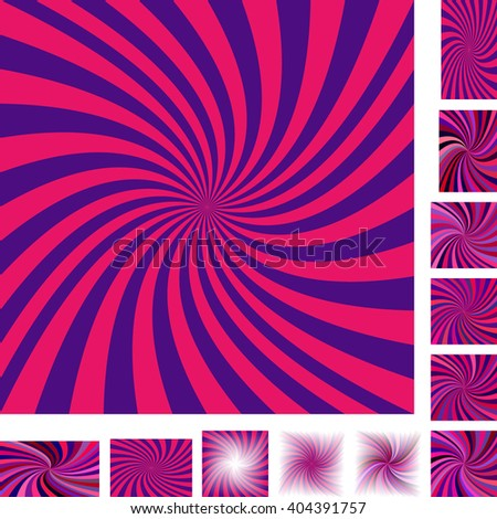 Blue and red vector spiral design background set. Different color, gradient, screen, paper size versions. - stock vector
