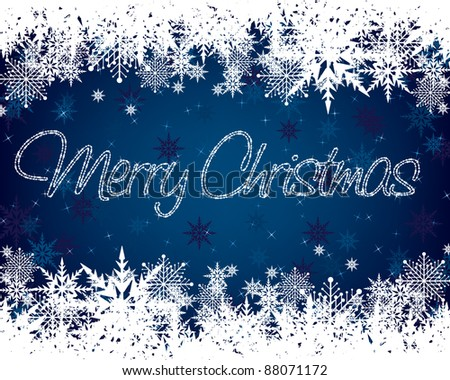 blue and white christmas snowflake background with seasonal message - stock vector