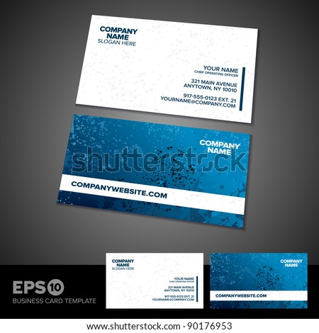 Blue and white grunge business card template - stock vector