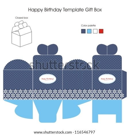 Blue and White Present Box - stock vector